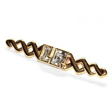 LOUIS FERAUD  Broche couleur or initiales en cristal blanc brooch A1