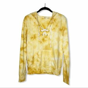Sky And Sparrow Anthro Yellow Tie Dye Lace Front Pullover Hoodie Womens Small