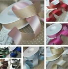 10, 15, 25mm  Reversible satin metallic glitter ribbon.Wedding Bridal Invitation