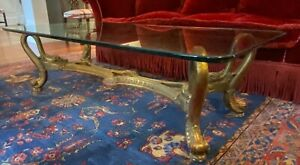 Local Pickup Antique/Vintage Mid Century Gilt Coffee w/Table Custom Glass Top