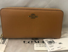 Coach Accordion Zip Wallet NWT Light Saddle/Old Brass