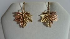 **Black Hills Gold Solid 10K RARE MAPLE LEAF Dangling EARRINGS**
