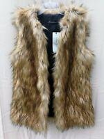 Women's Faux Fur Vest Waistcoat Sleeveless Jacket M