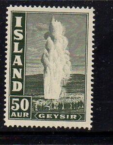 Iceland Sc 208 1938 50 aur dark slate Geyser stamp mint Free Shipping