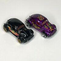 Hot Wheels Mattel Volkswagen Beetle Lot of 2 Black Purple 1:64 Scale 1988