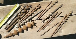 lot of Auger Bits  Old Carpenter Hand Brace Drill Bits
