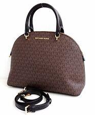 Michael Kors Bag Handbag Emmy LG Dome Satchel Braun New 35h9gy3s3b