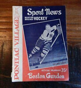 1960 BOSTON BRUINS VS DETROIT RED WINGS NHL HOCKEY PROGRAM HOWE SAWCHUK + GARDEN