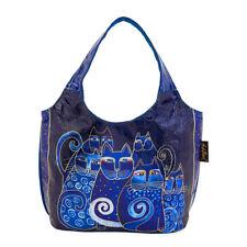 Laurel Burch Indigo Cats Blue Foiled Small Scoop Tote Handbag Purse
