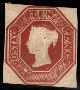 1848 QV SG57 10d Brown 2+ Margins Embossed MH NG Mint Hinged CV £12,000