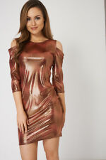 LADIES WOMENS PARTY OFFICE SUMMER Shiny Glossy Cut out Shoulder Dress  10 12 14