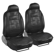 Deluxe Synthetic Leather Seat Covers Pair - Black 2pc High Back Bucket