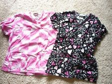 Scrubs and Peaches Nurse Scrub Top Sz=Sm And X-Small-lot of two