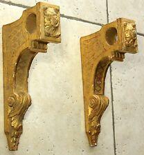 Bois doré ST Louis  XVI Ancienne paire de consoles ou appliques pour tringle rid