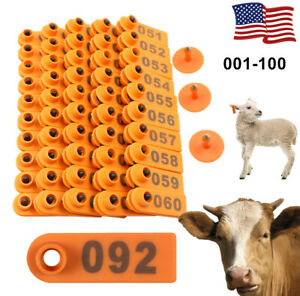 100Pcs Small Pre Numbered Animal Livestock Ear Label Tags for Pig Cow Sheep Litt