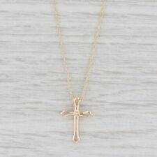 "Diamond Cross Pendant Necklace 14k Yellow Gold 19"" Rope Chain"