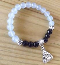Stress Relief Black Onyx Aquamarine 8mm Grade A Beads Buddha Charm Bracelet