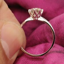 Solitaire Engagement Ring 18K White Gold 1 Carat Round Diamond Perfect Proposal