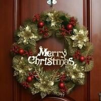 60cm Christmas Wreath Decor for Xmas Party Door Wall Hanging Garland Ornament US