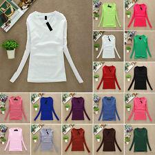 SEXY Womens V Neck Long Sleeve Plain multi Colour Sweatshirt T-shirt Blouse Top