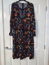 Tu Black Floral Embroidered Dress Plus Size 16 Summer Casual Light Celeb Fashion