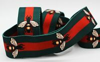 Gucci style, Green Red Striped Ribbon Trim, Double Faced Grosgrain, Bee Ribbon
