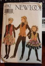 NEW LOOK SEWING PATTERN # 6982 Uncut Girls Size 8 - 14 Skirt Vest Cumberbund