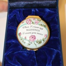 Halcyon Days Enamel Count My Blessings You Twice Rose Floral Trinket Box Euc