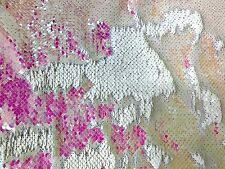Iridescent Multi Mermaid Reversible Two Tone Sequins Fabric Sold by the Yard 60""