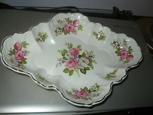 James Kent Old Foley Harmony Rose Oblong Scalloped Dish 10.5 in. England