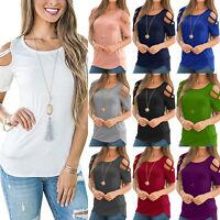 Women's Summer Cotton Short Sleeve Casual Shirt Tops Loose Blouse T-Shirt Tee