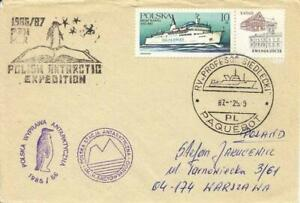 Polen Antarctic 3 cachet Station+Exp. ship cancel RV Professor Siedlecki 25.1.87