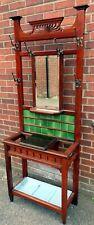 More details for arts & crafts edwardian antique art nouveau walnut tile back hallstand coat rack