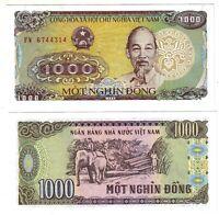 Banknote - Vietnam 1988, 1000 Dong, P106 UNC, Ho Chi Minh(F) Elephant Logging(R)
