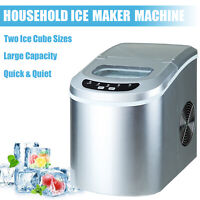 Electric Countertop Ice Maker Compact Portable Ice Cube Machine 26lbs/Day Silver