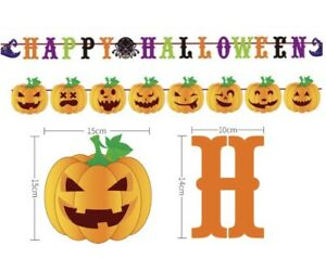 Happy Halloween Party Paper Bunting Decoration Pumpkin Banner Buntings UK Seller