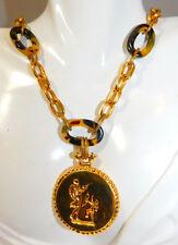 Gold Chain Faux Tortoise Link 32 Necklace Cherub Cupid Medallion Pendant 3e 3