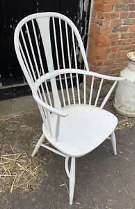 Ercol Originals Chairmakers Chair in Elm & Beech. Finish - White