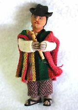 Small Hand Made Doll ANDEAN MAN Flute BOLIVIA Folk Art Traditional Costume #1