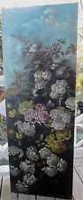 Antique HUGE Victorian PINK WHITE Yellow ROSES Painting 20  x 55 ins. 19C