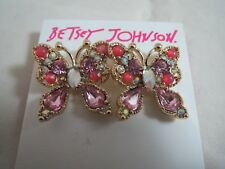 crystal butterfly earrings, Nwt Betsey Johnson Gold Tone~ pink