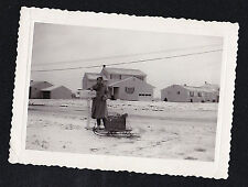 Vintage Antique Photograph Woman By Mailbox w/ Baby in Snow Sled