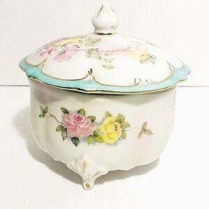 Vintage Lefton Hand Painted Footed Trinket Dish With Lid Floral Design