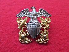 US NAVY overseas hat badge  * GEMSCO * STERLING & 1/20 10K GOLD #3