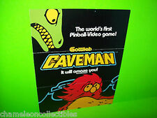 CAVEMAN By GOTTLIEB 1982 ORIGINAL PINBALL MACHINE PROMO SALES FLYER BROCHURE
