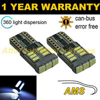 2X W5W T10 501 CANBUS ERROR FREE WHITE 18 SMD LED SIDELIGHT BULBS SL103902