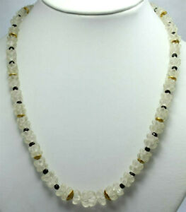 Moonstone Chain With Black Spinel Flower Shape Gravier Unique Women's Necklace