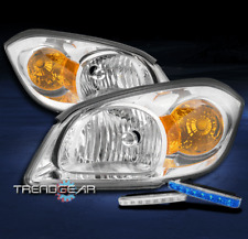 FOR 2005-2010 CHEVY COBALT REPLACEMENT CHROME HEADLIGHTS LAMP W/BLUE LED DRL KIT