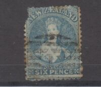 New Zealand QV 6d Blue Chalon SG136 Perf 12 1/2 Fault JK1258