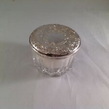 Towle Sterling mirror lid crystal powder box with puff  Vintage New